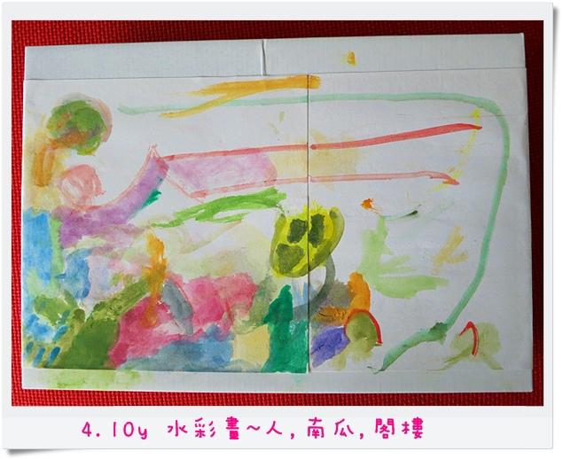 4.10y 水彩畫~人,南瓜,閣樓