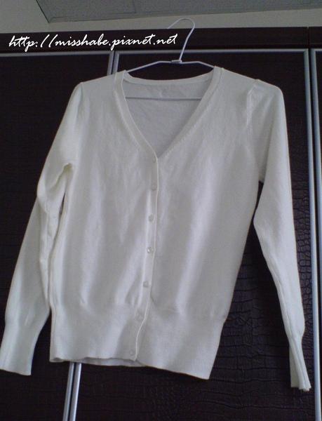 白色針織長袖外套$100