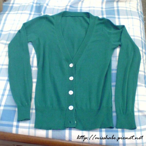 綠色針織長袖外套$100