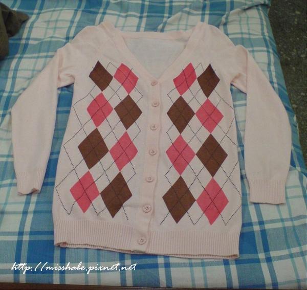 格菱長袖針織外套(粉)$200