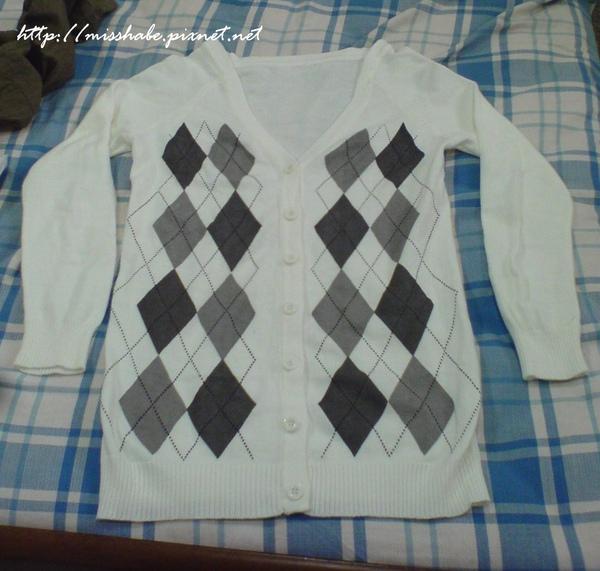 格菱長袖針織外套(白)$200