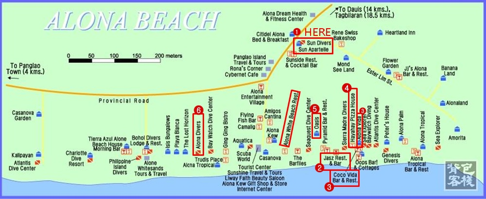 Alona Beach的詳細旅館圖