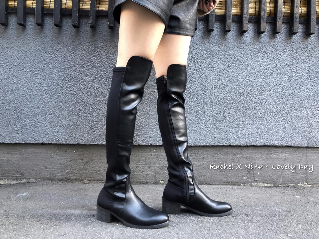 D+af黃金比例.彈力布拼接低跟膝上長靴
