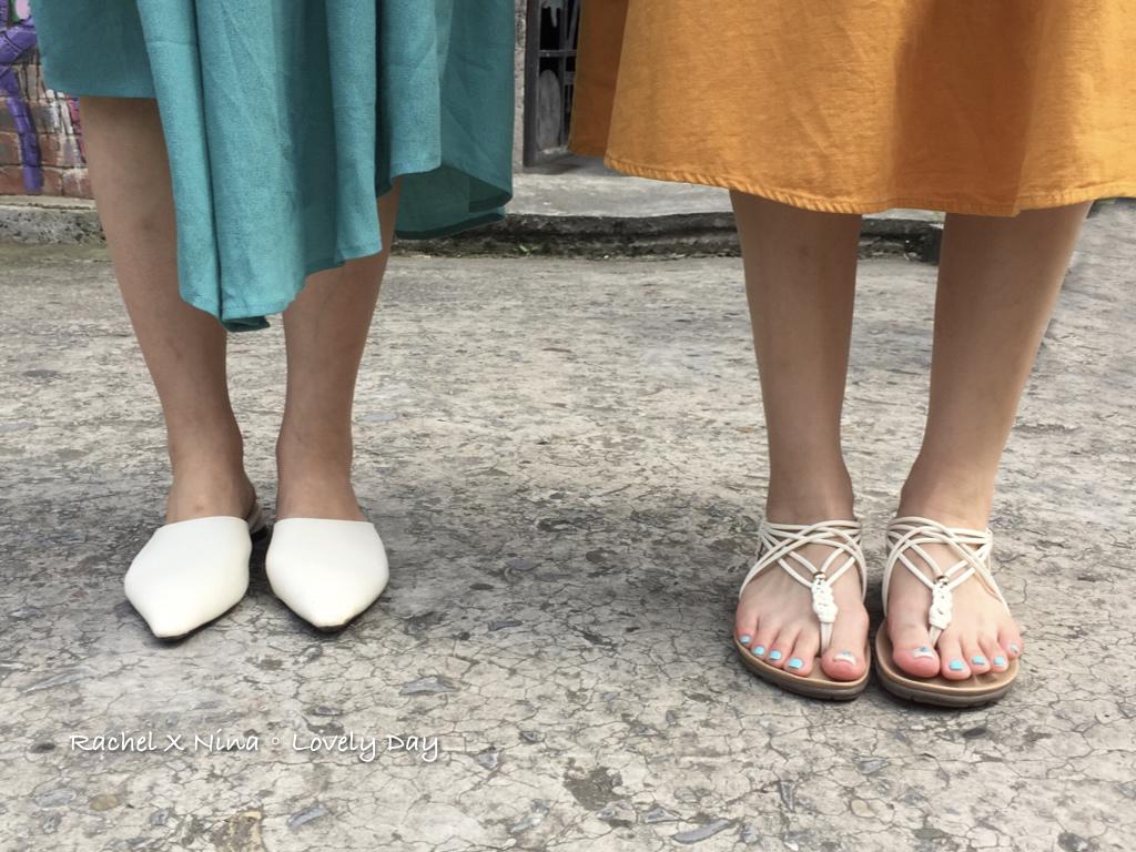 交叉細帶軟墊平底涼鞋