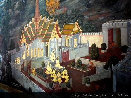 玉佛寺壁畫-頗有立體感