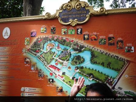邦芭茵夏宮-平面圖與導遊的手