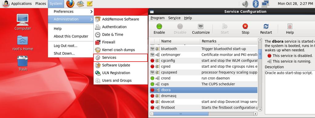 linux-service-oradb