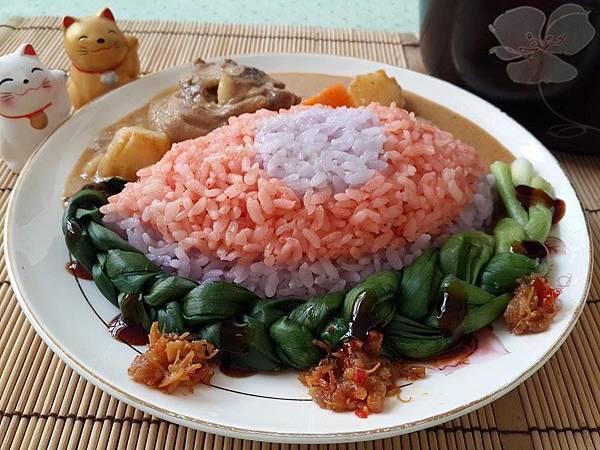 咖哩雞雙色彩米飯