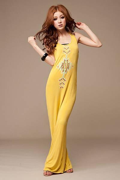 波西米亞 圖騰印花超長洋裝背心連衣裙 黃1.jpg