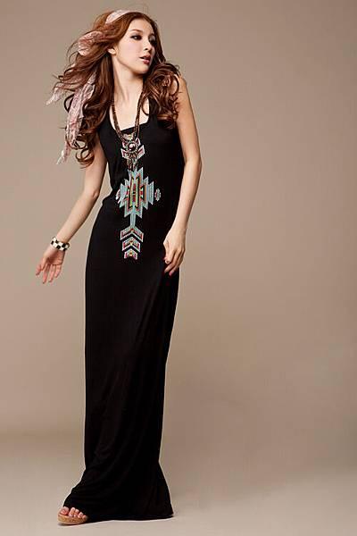 波西米亞 圖騰印花超長洋裝背心連衣裙 黑1.jpg