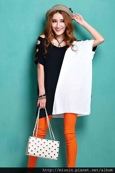 韓版時尚露肩個性蝙蝠大碼寬松短袖t恤2.jpg