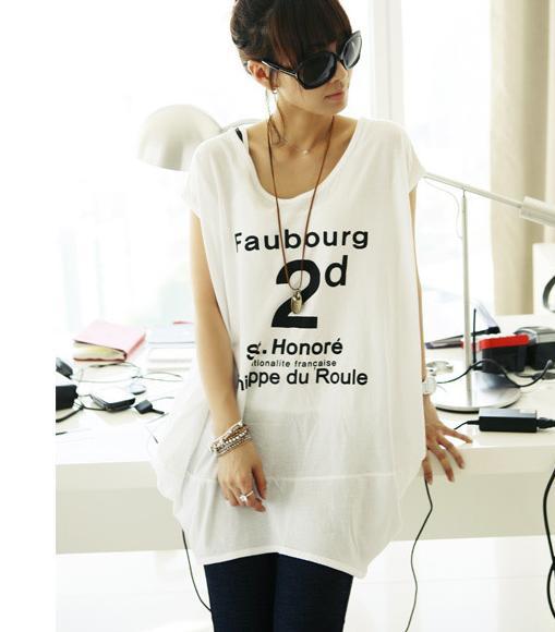長款大碼純棉短袖V領字母T恤打底衫3.jpg