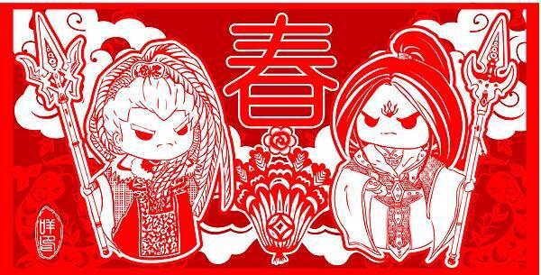 雷狩銀燕門神-明信片