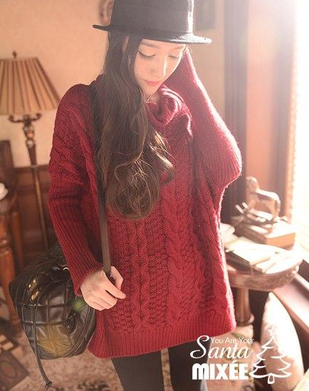 1206 聖誕感復古麻花翻領寬鬆長版毛衣(酒紅) $750