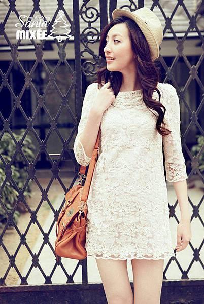 1209 氣質款顯瘦七分袖蕾絲洋裝 (白) $970含運