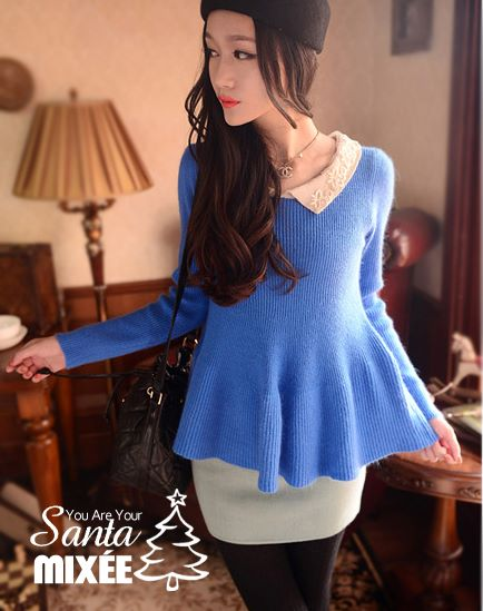 復古風蕾絲領小裙針織衫(寶藍) $680