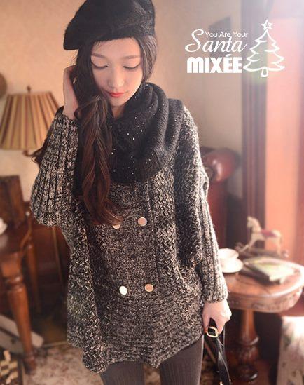 1203 雙排釦寬鬆針織外套(灰黑) $930