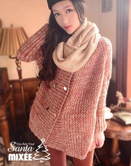 1204 雙排釦寬鬆針織外套(棗紅) $930