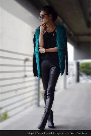 black-top-persunmall-top-sheinside-cardigan-leather-pants-bebe-pants