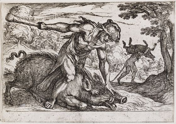 Hercules and the Boar of Erymanthus-Antonio Tempesta-1608