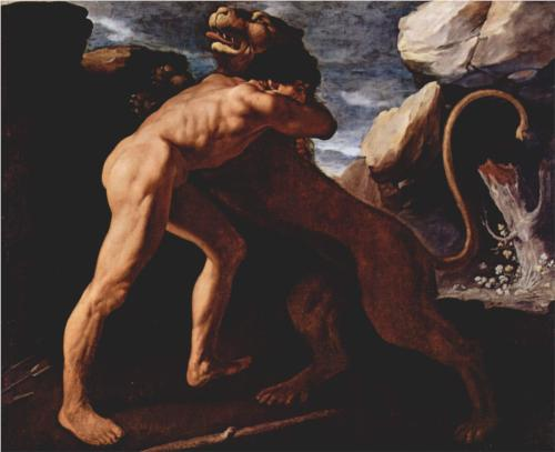 hercules fighting with the nemean lion-francisco de zurbaran 1634