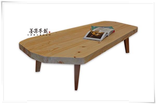日本檜木拼版造型茶几-p130101