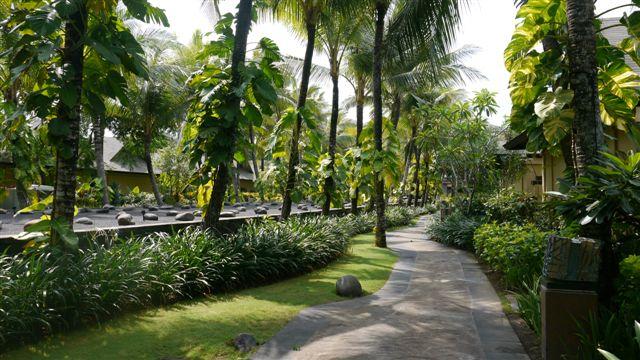 從大廳往海邊的走道, 兩邊是villa