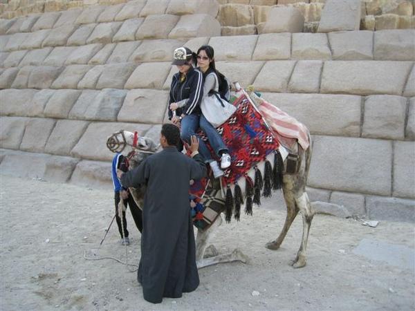 下駱駝是非常驚險的 不過兩位女士處變不驚