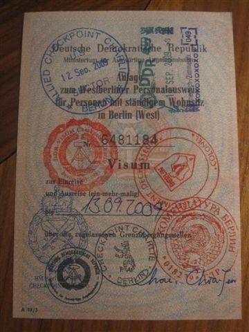 今天蓋的東德Visa
