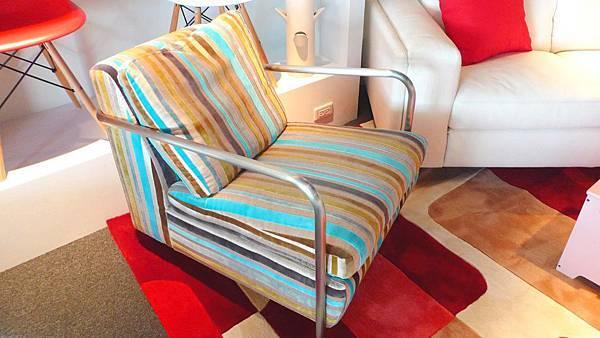 愛戀普普-土耳其藍條紋單椅-不鏽鋼框架+高密度海綿+進口布花.jpg