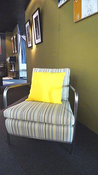 愛戀普普-抹茶條紋單椅-不鏽鋼框架+高密度泡棉+進口布花.jpg