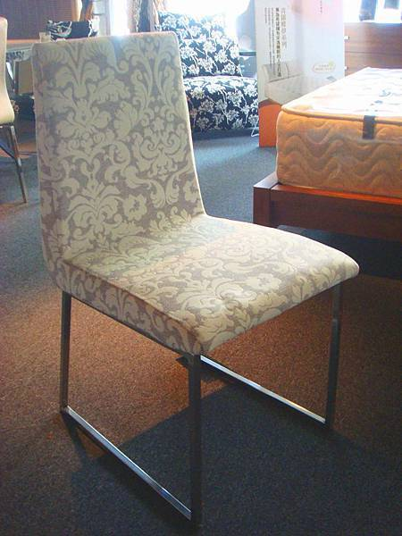 白妮餐椅(灰色+白色)-不鏽鋼+高級布花.jpg