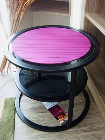 雙層旋轉玻璃小茶几(黑)--黑色烤漆鐵管+黑色烤漆強化玻璃.jpg