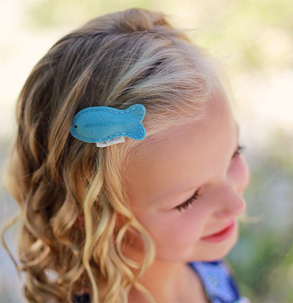 Wool felt hair clip -Tropical fish -aqua.jpg