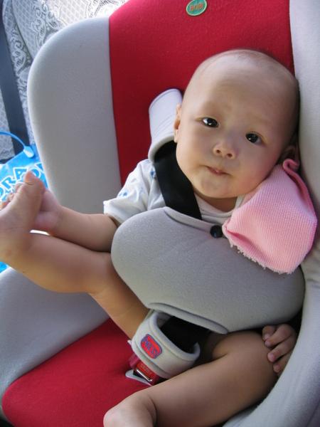 9/5~坐車車出去玩囉..可是我不愛這個椅子勒..都不能爬來爬去..