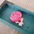 18、粉紅玫瑰髮夾(小)