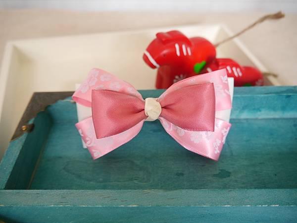 4、古典粉紅牡丹立體多層蝴蝶結