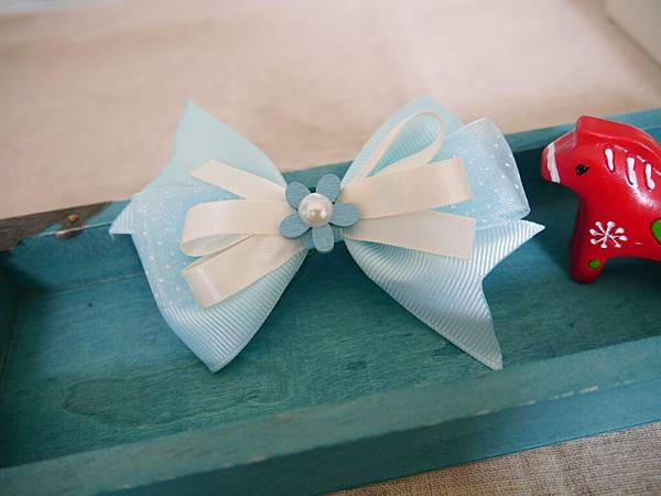 5、藍藍涼夏粉紗多層立體蝴蝶結
