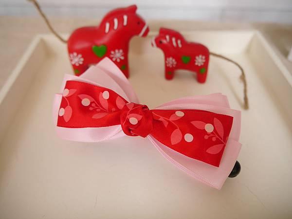14、紅粉艷夏多層蝴蝶結相交夾