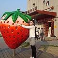 文化中心前面的大草莓