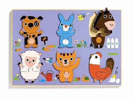 農場動物六片拼圖