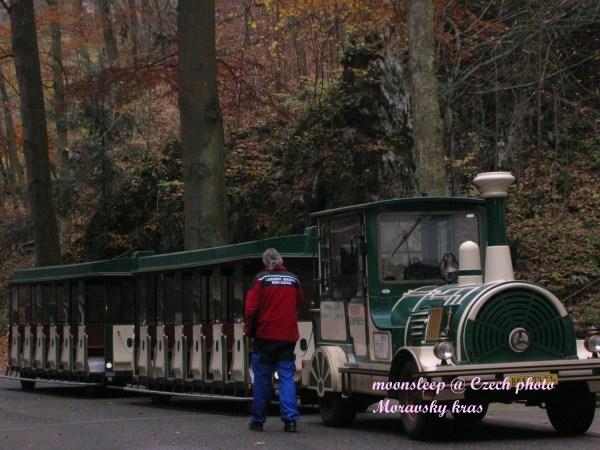 搭火車造型電動車到鐘乳石洞門口
