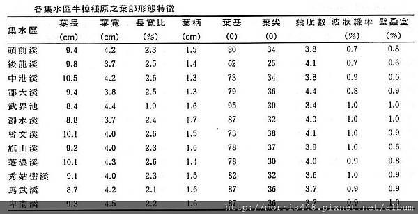 各集水區牛樟( Cinnamomum kanehirai Hay )種原之葉部型態特徵
