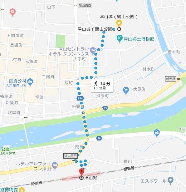 津山城map