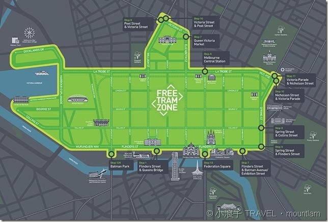 墨爾本市中心免費有軌電車區域地圖