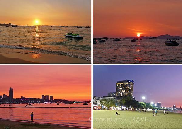 芭堤雅景點:沙灘日落