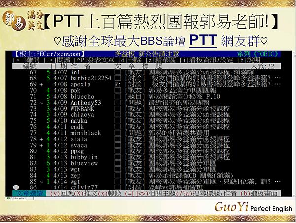 PTT全球最大BBS網路論壇上百篇討論團報郭易老師