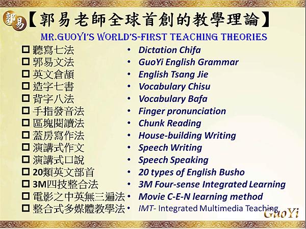 郭易老師全球首創的多項教學理論