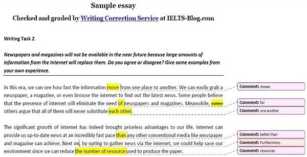 IELTS blog雞肋的寫作批改水準