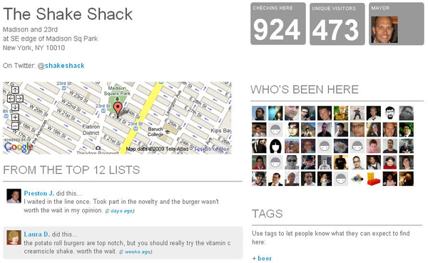 Shake Shack's Foursquare Page
